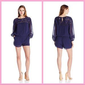 JOIE   Navy Silk & Lace Long-Sleeve Romper